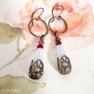 Jewelry - Handmade Milky White Czech Glass Drop Earrings